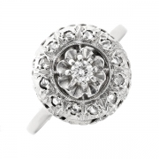 Bague ancienne diamants 0.09 carat en or blanc