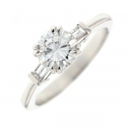 Solitaire diamants 1 carat en or blanc avec certificat