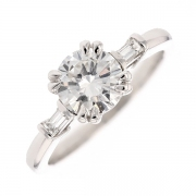 Solitaire diamants 1.48 carat en or blanc avec certificat