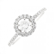Bague ronde diamants 0.52 carat en or blanc