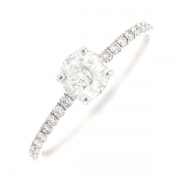 Solitaire diamants 0.69 carat en or blanc