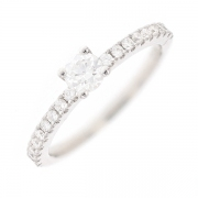 Solitaire diamants 0.56 carat en or blanc