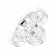 Bague tête de mort diamants 0.24 carat en or blanc