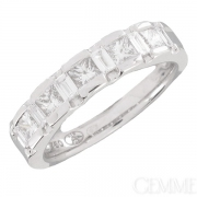 Bague Or Blanc Diamants Princesse et Diamants Baguette