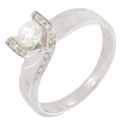 Bague diamants 0,39 carat en or blanc