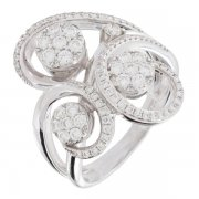 Bague spirale diamants 0,73 carat en or blanc