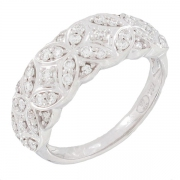 Bague rosaces diamants 0,51 carat en or blanc