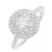 Bague ronde fleur diamants 0,76 carat en or blanc