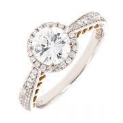 Solitaire diamants 1.2 carat en or bicolore avec certificat