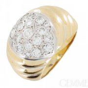 Bague boule diamants 0,80 carat en or jaune - Occasion