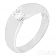 Bague jonc diamant 0.65 carat en or blanc. Occasion