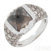 KORLOFF. Bague d�me diamants 2,95 carats et quartz fum� en or blanc. Occasion