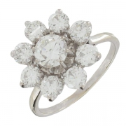 Bague marguerite diamants 3,30 carats en or blanc