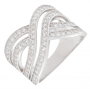 Bague entrelacs diamants 0,92 carat en or blanc