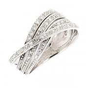 Bague entrelacs multifils diamants en or blanc