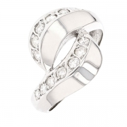 Bague serpent stylisé diamants 0.65 carat en or blanc