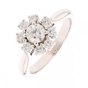 Bague marguerite diamants 0.90 carat en or blanc