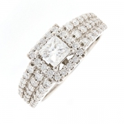 Bague diamants 1.02 carat en or blanc avec certificat