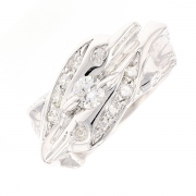 Bague double dauphins diamants 0.58 carat en or blanc