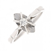 Bague navette diamant 0.11 carat en or blanc