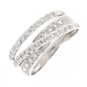 Bague entrelacs diamants 0.32 carat en or blanc