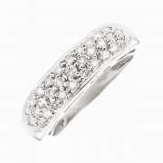 Bague jonc pavage diamant 0.93 carat en or blanc