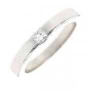Bague solitaire diamant princesse 0.15 carat en or blanc