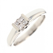 Bague diamants princesses 0.20 carat en or blanc