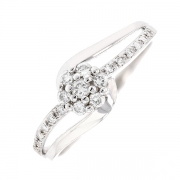 Bague fleur diamants 0.20 carat en or blanc