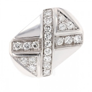 Bague croisillon diamants 1.05 carat en or blanc