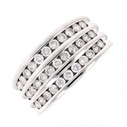 Bague multi-lignes diamants 0.99 carat en or blanc