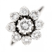 Bague fleur diamants 1.50 carat en or blanc