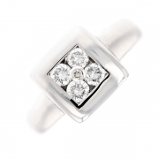 Bague carrée diamants 0.42 carat en or blanc
