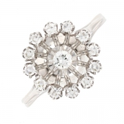 Bague ronde diamants 0.22 carat en or blanc