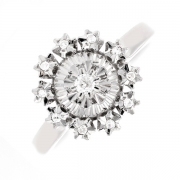 Bague ronde diamants 0.11 carat en or blanc