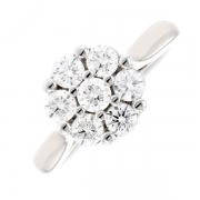 Bague ronde diamants 0.77 carat en or blanc