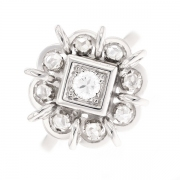 Bague rosace diamants 0.15 carat en or blanc