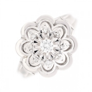 Bague fleur diamants 0.15 carat en or blanc