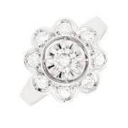 Bague fleur diamants 0.40 carat en or blanc