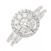 Bague ronde diamants 1.15 carat en or blanc