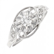 Bague diamants 0.11 carat en or blanc