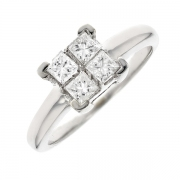 Bague diamants 0.56 carat en or blanc