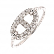 Bague cha?ne d'encre sign?e HERMES diamants 0.30 carat en or blanc