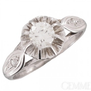 Bague Vintage Or Blanc Diamant. Vers 1960