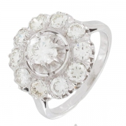Bague vintage diamants 1,60 carat en or blanc