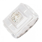 Bague tank diamant 0,75 carat en or blanc