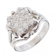 Bague vintage pavage de diamants 0,27 carat en or blanc et platine