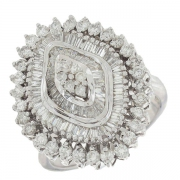 Bague marquise vintage diamants 4,50 carats en or blanc