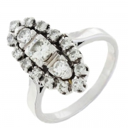 Bague marquise vintage diamants 1,05 carat en or blanc