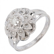 Bague fleur vintage diamants 0,16 carat en or blanc